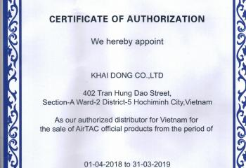 KHAI DONG certificate is the official distributor of AIRTAC 2019-2020 .