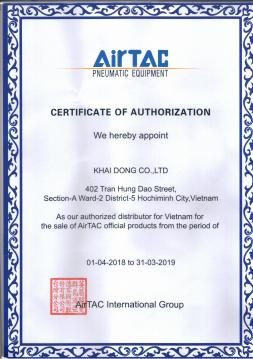 KHAI DONG certificate is the official distributor of AIRTAC 2020-2021 .